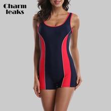 купить Charmleaks One Piece Women Sports Swimwear Sports Swimsuit Colorblock Swimwear Backless Bikini Beach Wear Bathing Suits дешево