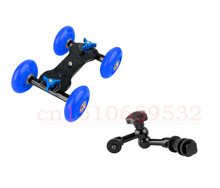 2 in1 Portable Micro Camera Dolly Car with Black Wheels + 7″ Articulating Magic Arm for Photo Studio