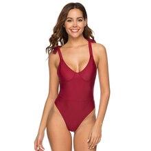 Купить с кэшбэком Swimwear Women 2019 One Piece Swimsuit Push Up Vintage Retro Bathing Suits Swimming Suit for Beach Wear Plus Size Swimwear
