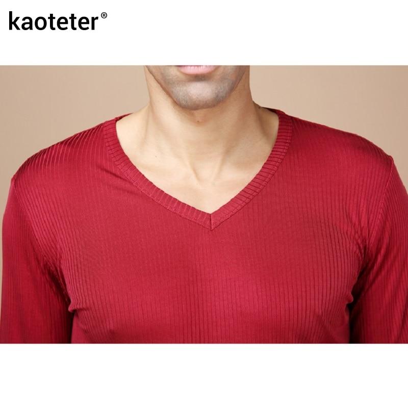 100% de seda pura para hombre Calzoncillos largos cuello en V para hombre conjuntos de ropa interior para hombres trajes térmicos antibacterianos de otoño para hombre - 3