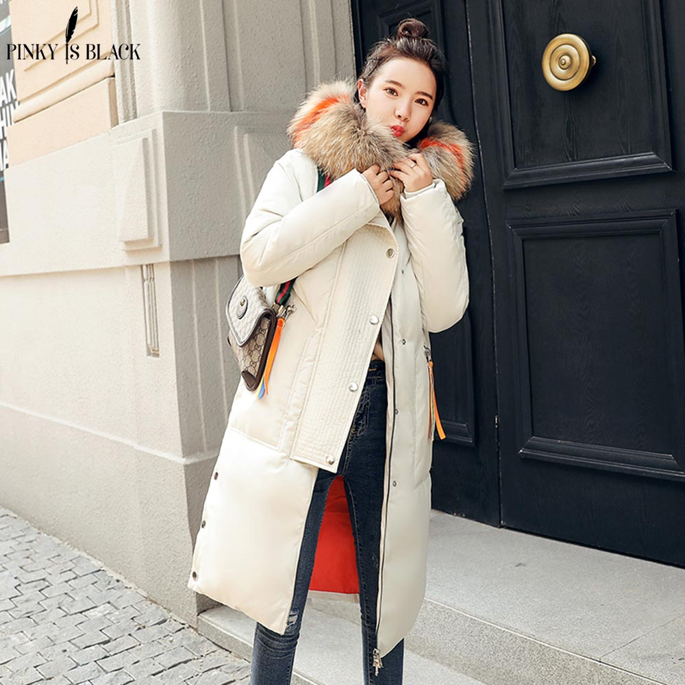 PinkyIsBlack winter coat women winter jackets women 2018 female coat Hooded Outwear woman long   parkas   Faux fox fur Cotton padded