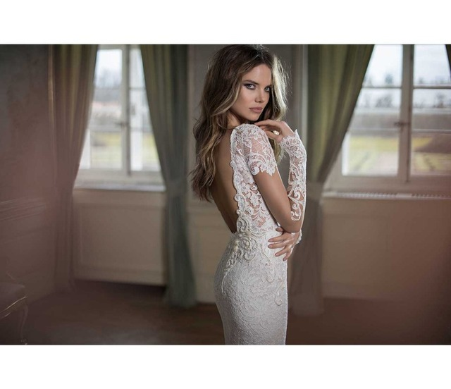 Sparkly Elegant Sexy 2015 Short Sleeve Lace Beaded Mermaid Wedding Dress  Vestido De Noiva Longo Bridal Gowns See Through China 4f2215ec20ca