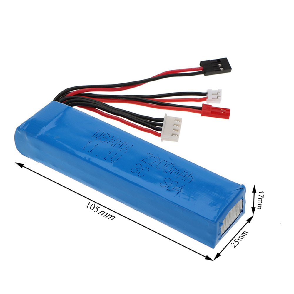 цена на 11.1V 2200mAh 8C Lipo Battery 3S 3 Connector for JR Futaba RadioLink Remote Control Transmitter 105 * 25 * 17mm