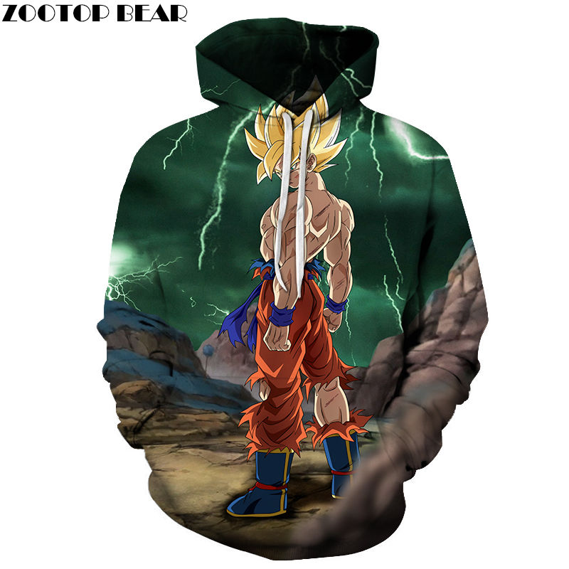 Ninja Super Men Pullovers Hoodies Dragon Ball Anime Cosplay Movie Male Tops Cotton Drop Ship 3D Print Sweatshirts ZOOTOP BEAR