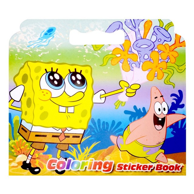 New SpongeBob SquarePants Coloring Sticker Book For Children Adult Relieve Stress Kill Time Graffiti Painting Drawing