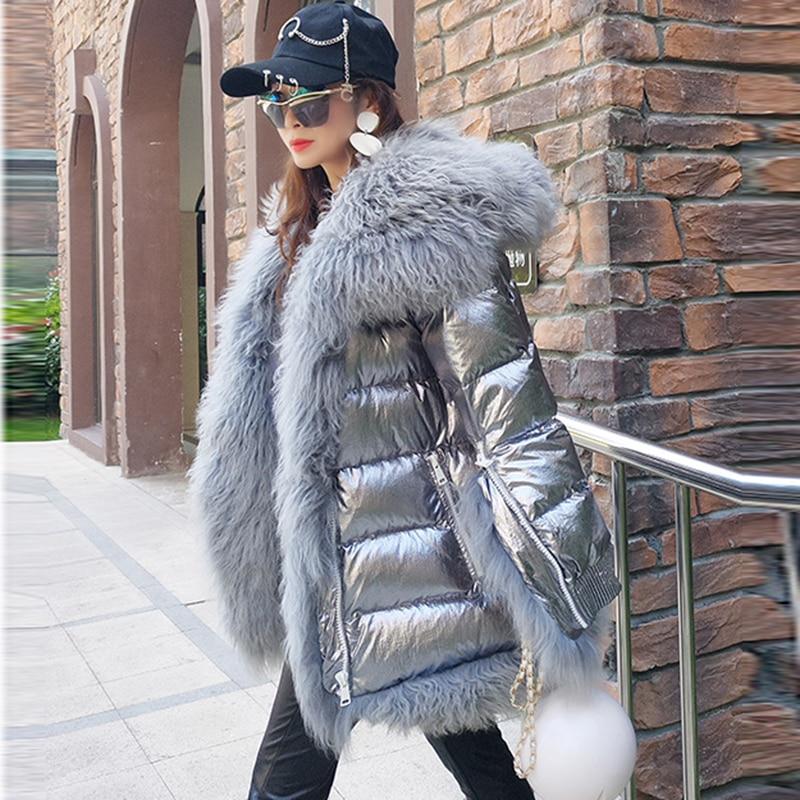 Women Winter Down Jacket Coat Long Warm Silver Parkas Sheep Fur Duck Down Coat Parka Female Casual Fur Collar Hooded Coat FP1736