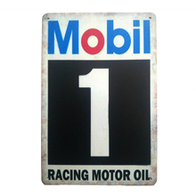Фотография Mobil racing motor oil. retro metal signs vintage tin plate iron picture the wall for cafe home bar garage