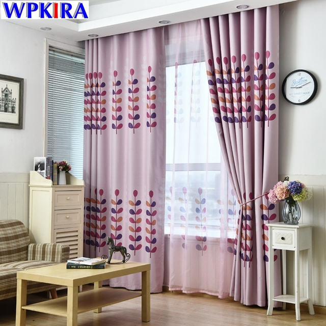 printed coral pattern curtain for living room window curtain panels