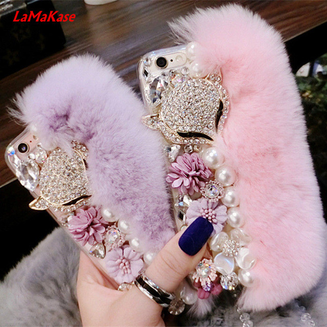 LaMaKase Luxury Bling Warm Soft Beaver Rabbit Fur Hair & Flowers TPU Phone Cases for iphone5S 5C 6/6P 7/7Plus Protective Phone
