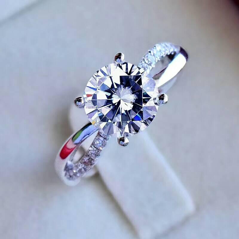MeiBaPJ Moissanite Gemstone Fashion 1 Carat Diamond Ring D Color VVS 925 Sterling Silver Fine