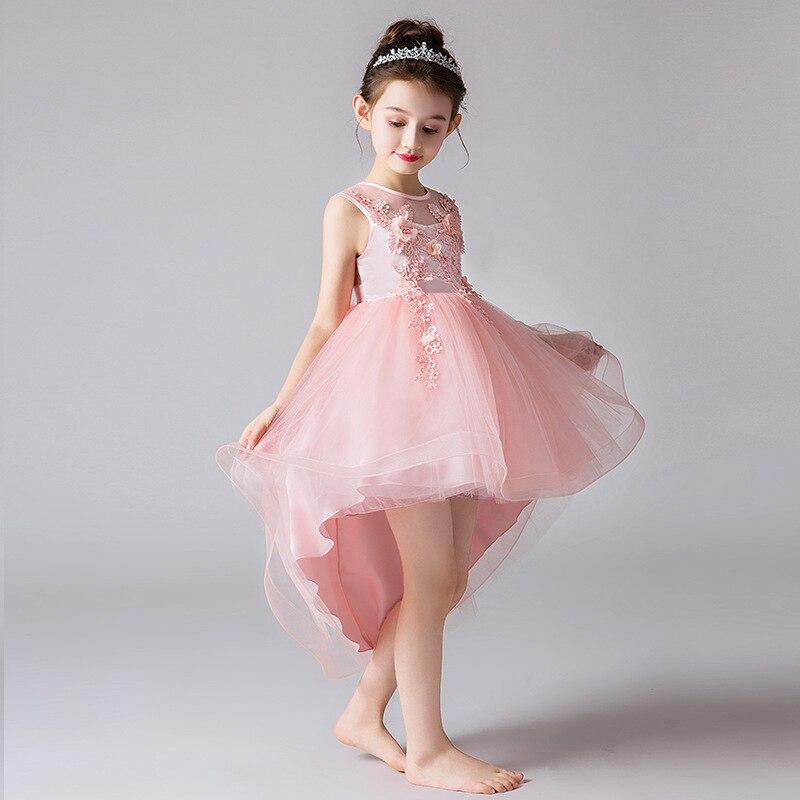 Girls   Tulle Gown   Flower     Girl     Dress   For Weddings Summer New Sweet   Flower   Beading O-neck Sleeveless Big   Girls   Mini Ball Gown