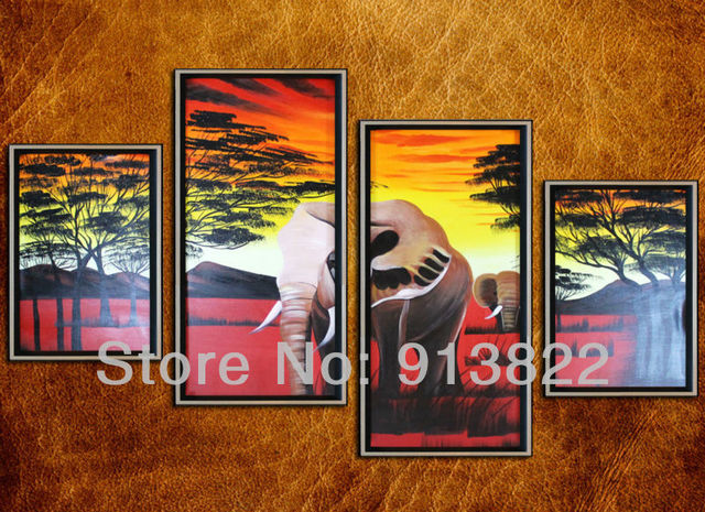Free Shipping Group Oil Paintings Handmade on Canvas  Africa Scenery Home decor Gifts