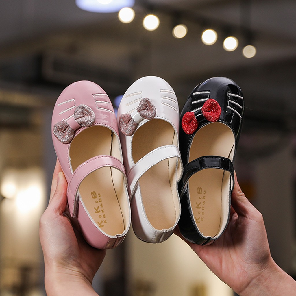 Children Shoe Toddler Baby Girl Casual Shoes Leather Spring Cat Cartoon Shoe Bowknot Dance Princess Shoes Kids Single Sneakers