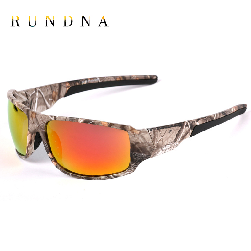 RUNDNA Camo Frame Polarized Sports Sunglasses Outdoor Camping Hunting Cycling Bike Riding Fishing Sunglasses Flash Red Mirrored
