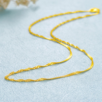 FINE Pure 999 24K Yellow Gold Necklace Women Singapore Link Chain 16inch