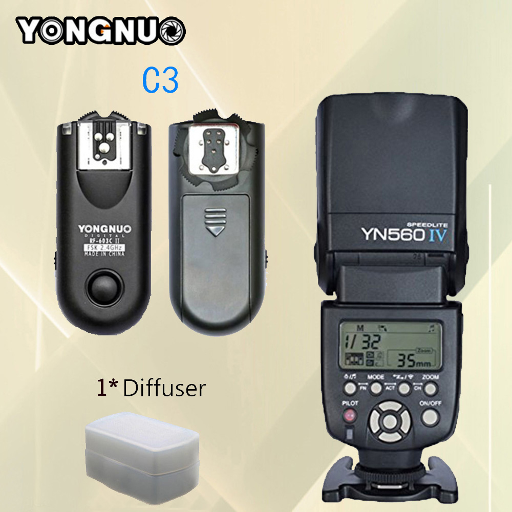 For Canon 1D 5D 50D 40D 30D 20D Camera Flash YONGNUO YN560- IV YN560 IV YN560IV Speedlite + RF-603 II C3 RF603 II Flash Trigger yongnuo yn560 iv master radio flash speedlite rf 603 ii flash trigger for canon pentax olympus