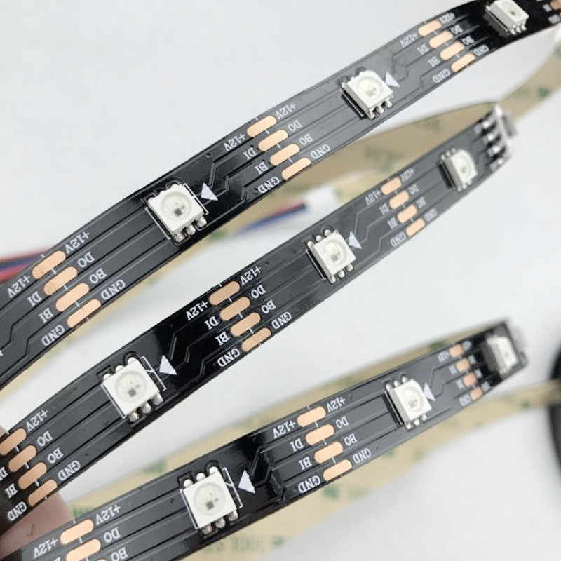 DC12V WS2815 (WS2813 обновление) 5050 светодиодный пиксельный RGB полосы, индивидуально адресуемых 30/60/144 светодиодный s/m; белая/черная печатная плата IP30 IP65 IP67