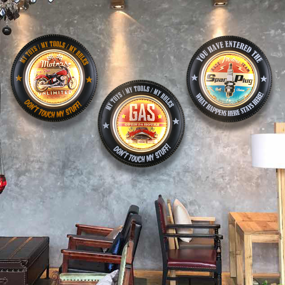 Antique Car Tire Led Neon Signs Gas Motor Tracks Garage Vintage Home Decor Wall Painting Luminous