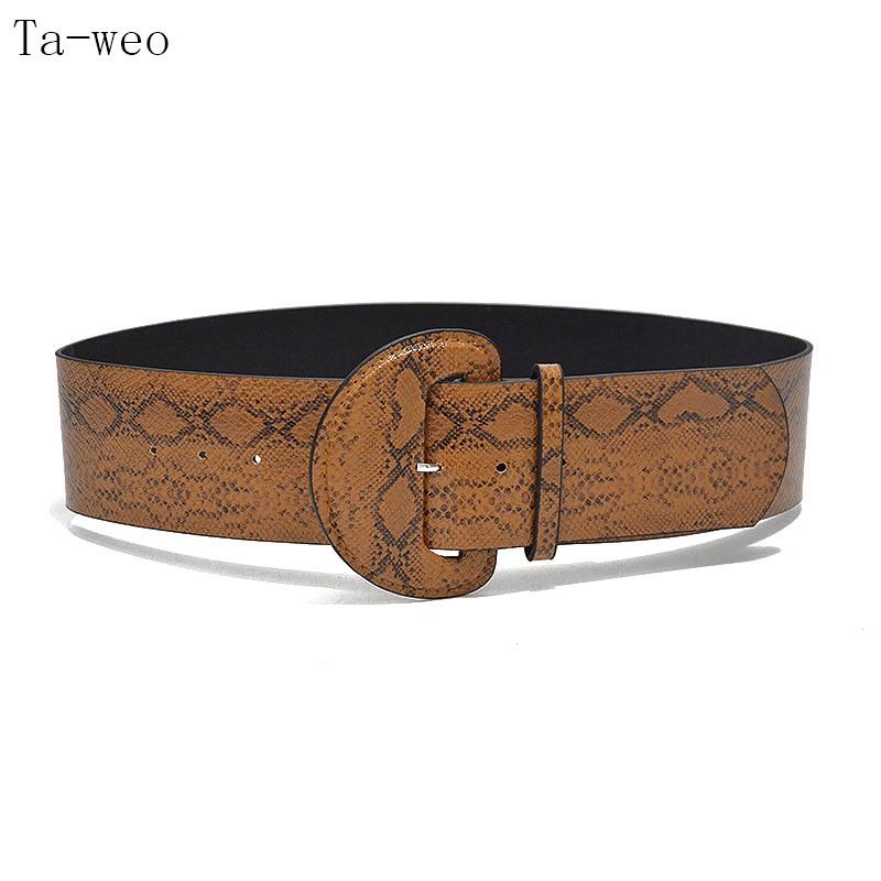 Ta-weo moda Retro Python patrón Faux cuero cinturón ancho patrón de la  serpiente de las mujeres Popular decoración Cummerbunds 5893cf0352c2
