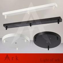 Lámpara de techo de placa de placa de techo de metal de la vendimia diy accesorios de iluminación de luz de base redonda, rectangular de color negro, blanco