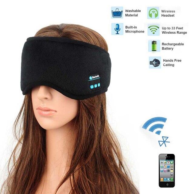 JINSERTA Wireless Bluetooth 5.0 Earphone Sleep Mask Phone Headband Sleep Soft Headphone For Listenting Music Answering Phone