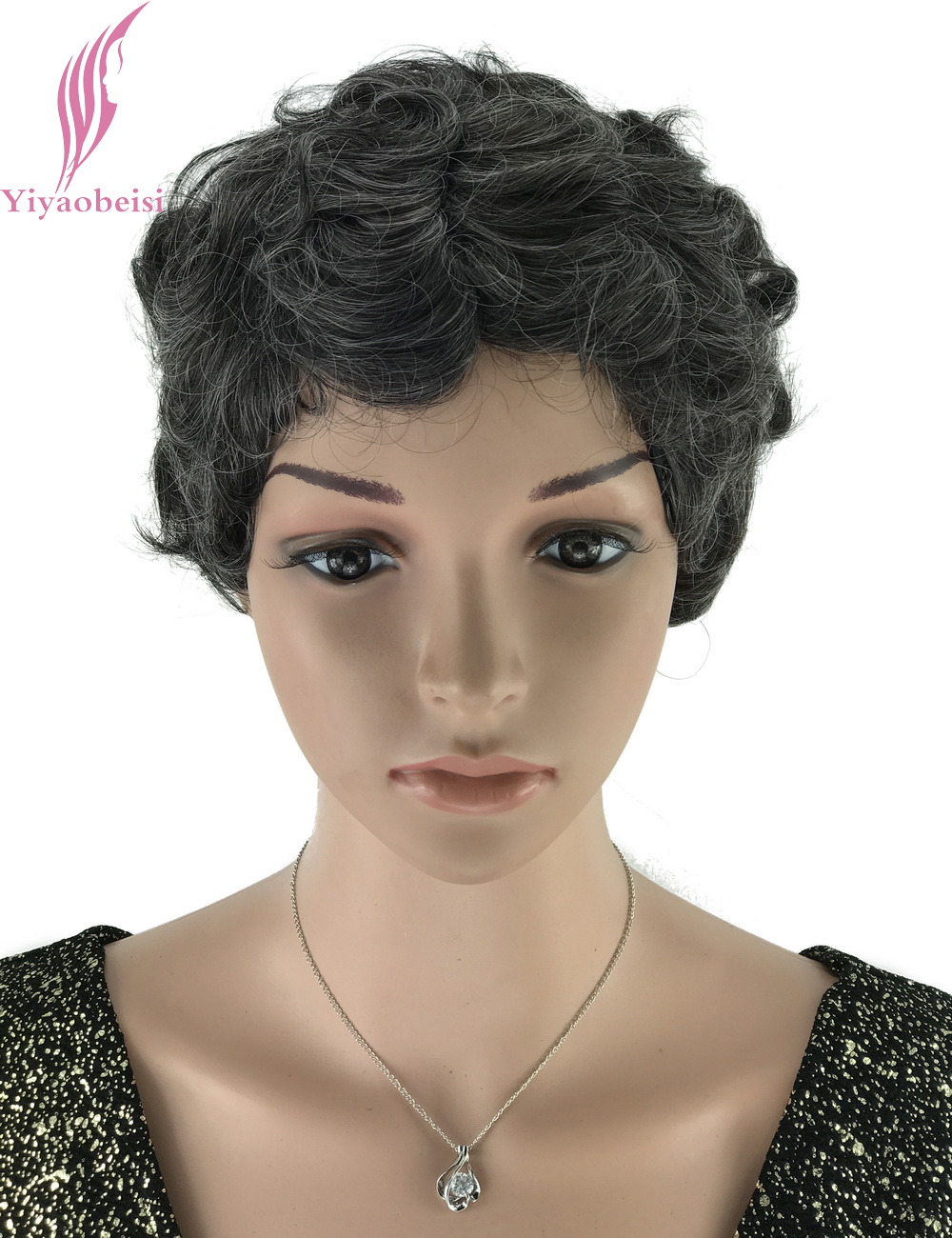 Yiyaobess 6inch Black White Highlights Short Curly Wigs For Older Women Synthetic African American Wig Hairstyle