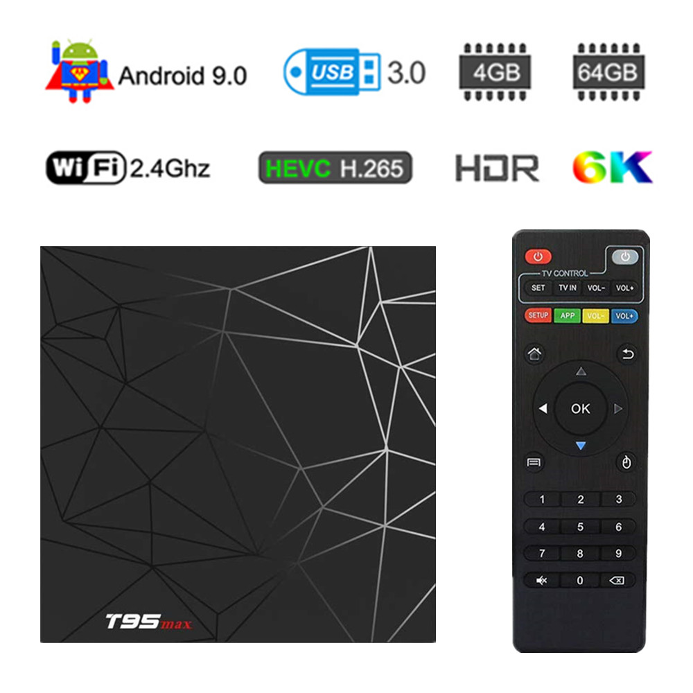 T95 MAX Android 9,0 4 GB RAM 64 GB ROM Smart 6 K TV BOX Allwinner H6 Quad Core H.265 HD 2,4G Wifi set-top tvbox T95MAX Set Top Box