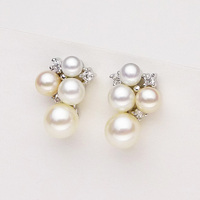 925 Silver Real Natural Big The New 925 Sterling Silver 8 Round Strong Natural Pearl Earrings