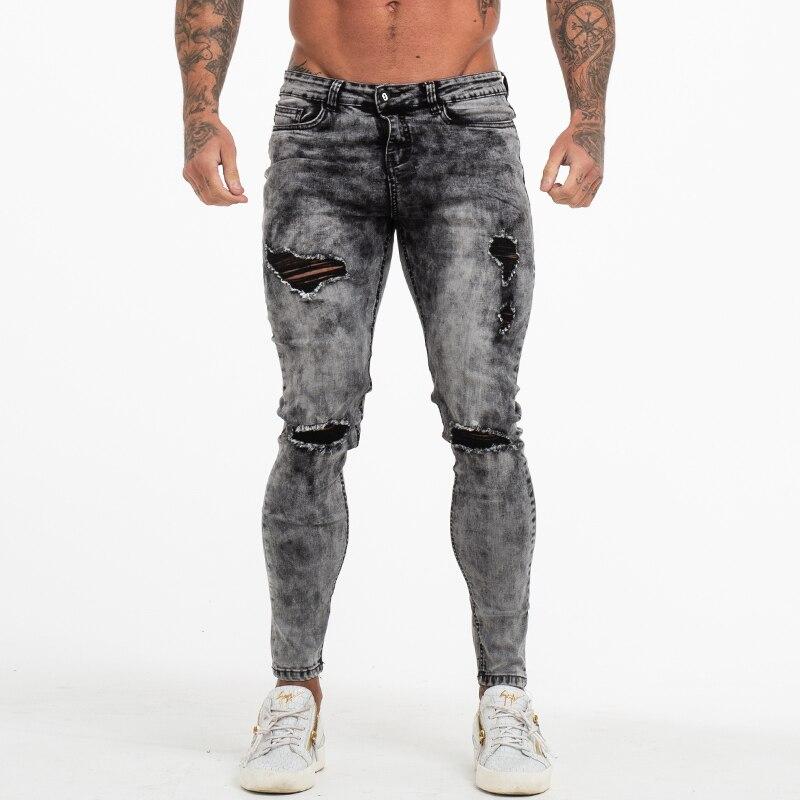 Calças Dos Homens Jeans Skinny Homens Gingtto Grey Afligido Jeans Rasgado calças de Brim Elásticas Moda Marca Stonewashed Tamanho Grande 28-36 zm70