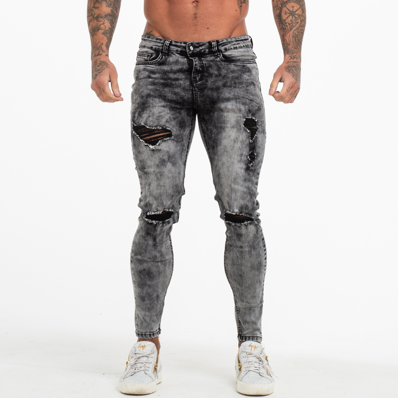 Gingtto Pants Men Skinny   Jeans   Men Grey Distressed Denim Ripped Stretchy   Jeans   Fashion Brand Stonewashed Big Size 28-36 zm70
