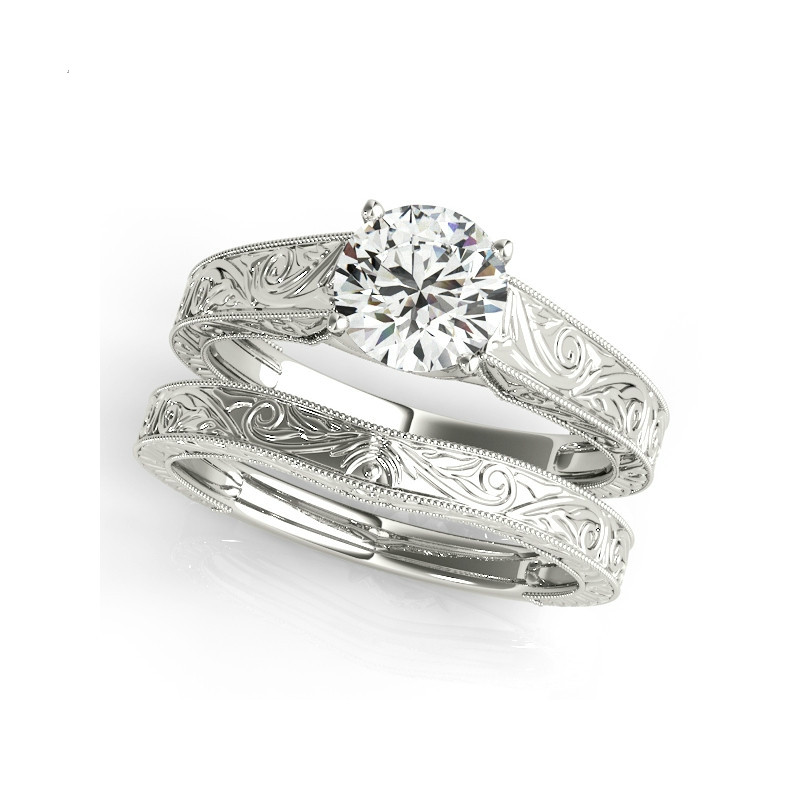 QYI 925 Sterling Silver 1 Carat Round Sona Genuine Wedding Ring Sets Engagement Band Vintage Design Jewelry For Women