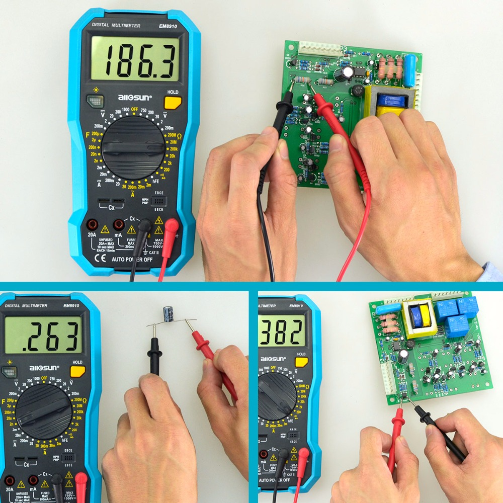 Us 240 20 Off All Sun Em8910 Digital Multimeter Multi Tester Backlight Ac Dc Ammeter Voltmeter Ohm Portable Meter Voltage In Multimeters From Lcd Circuit Checker Tools On