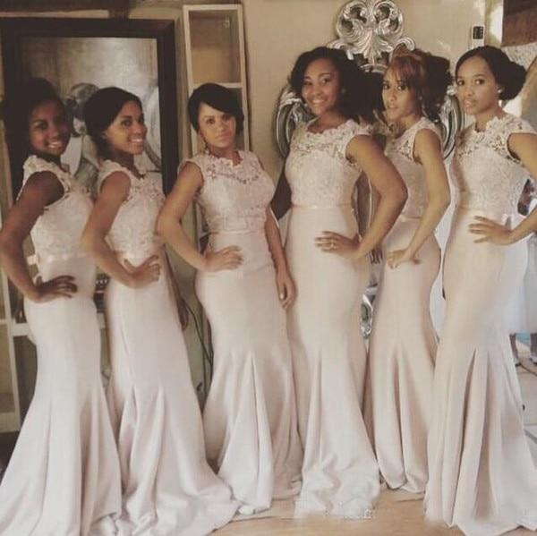 Fabulous New Mermaid   Bridesmaid     Dresses   2019 sukienka wesele O-Neck Cap Sleeve Floor Length Lace Chiffon Wedding Party   Dress