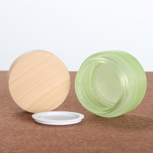 30ml/20ml Wooden Refillable Small Container Lid Cosmetic Empty Jar Glass Cream Jars Facial Cream Jar Make Up Tools(China)