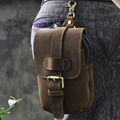 Men Crazy Horse Cowhide Fanny Waist Bag Purse Pouch Real Belt Military Travel Male Retro Genuine Leather Cell/Mobile Phone Case