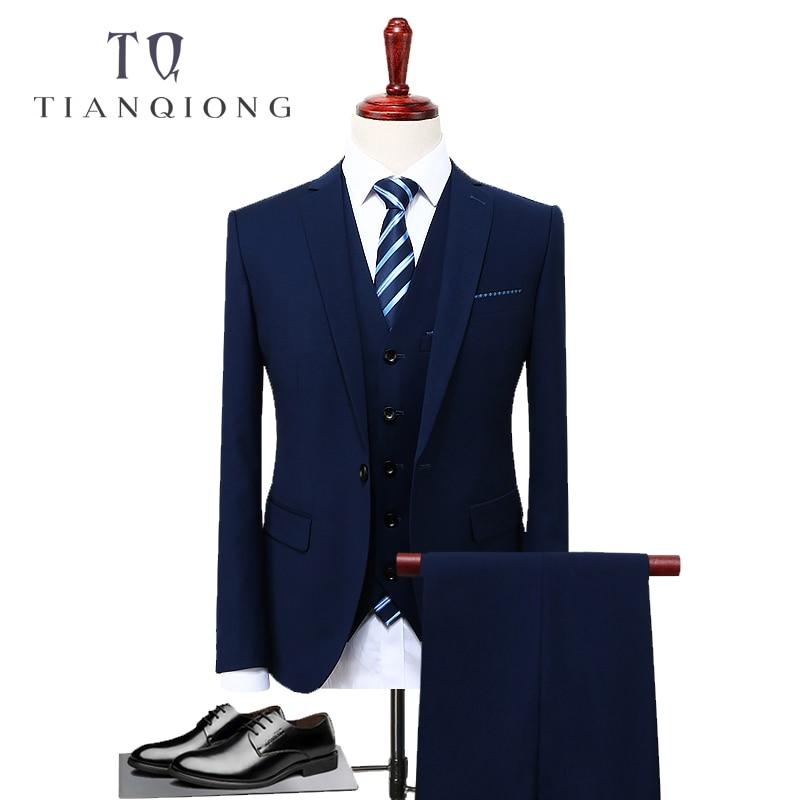 TIAN QIONG Blue 3 Piece Suit Men Korean Fashion Business Mens Suits Designers 2018 Slim Fit Wedding Suits For Men Size S-4XL