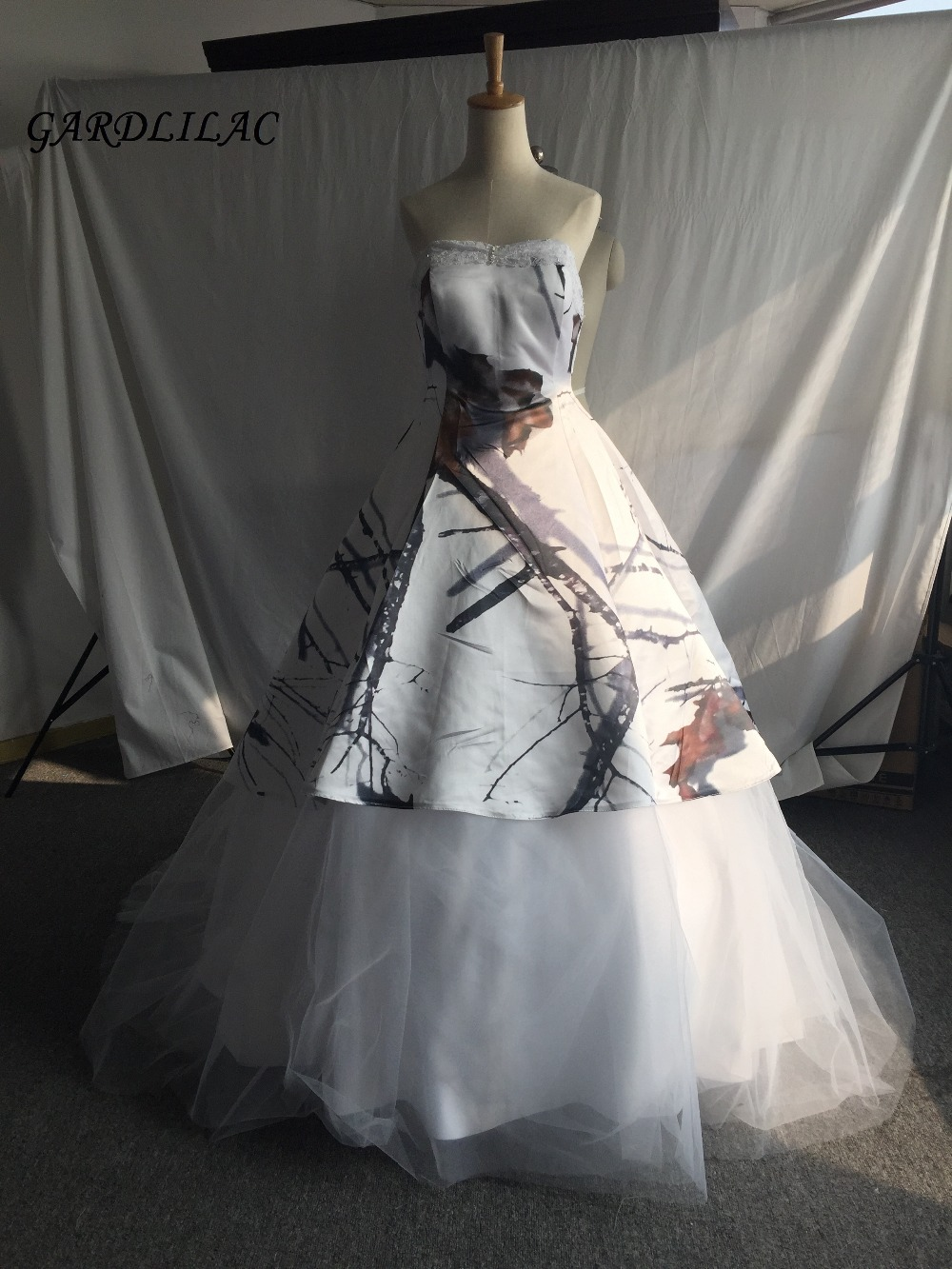 Self-Conscious Real Pictures Satin White Camo Wedding Dresses 2019 Ball Gown Bridal Gown