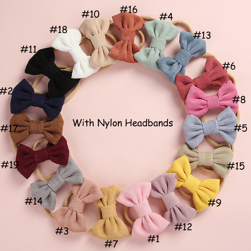 20 pcs/lot, Corduroy Fabric Bow Nylon Headbands or hair clips, Photography Prop baby shower gift-in Hair Accessories from Mother & Kids