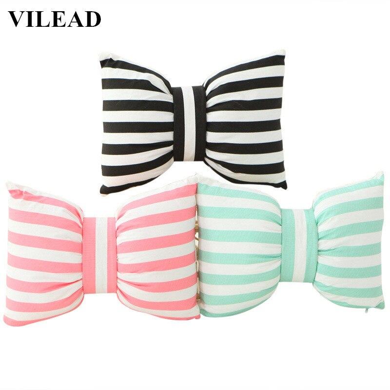 VILEAD Striped Dot Bow Cushion Car Seat Pillow Soft PU Cotton Plush Doll Home Decorative Throw Pillow Gift for Children Girls