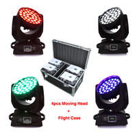 4pcs Light Flight Case 36x10W RGBW LED Zoom Moving Head Light Red Green Blue White LED