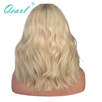 Qearl Hair Full Lace Wig 150% Density Two Tone Ombre Lace Wigs Brazilian Remy Hair Wig Full Ends Blonde color For Women