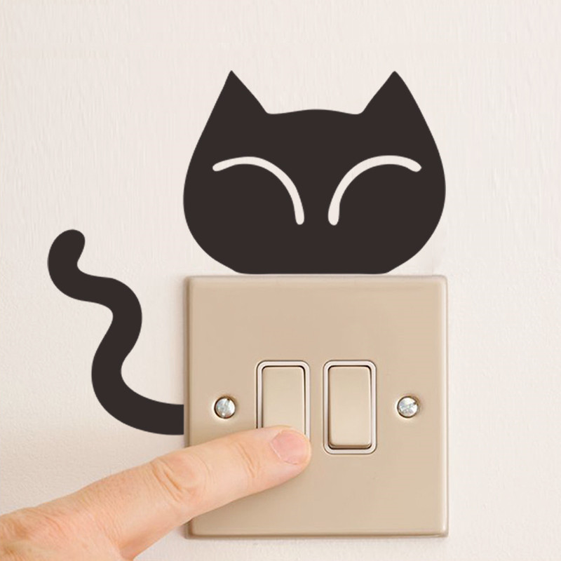 PVC Cartoon Kitty Switching Wall Stickers Car Kids Room Living Bedroom Marriage Decorative Switch In From Home