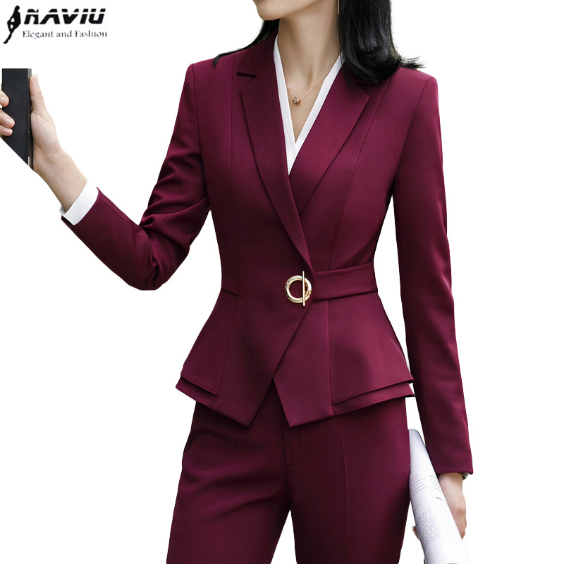 High quality winter suit for women two pieces set formal long sleeve slim blazer and trousers