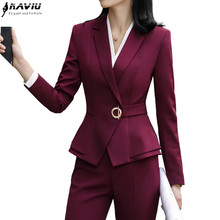High quality winter women suits two pieces set formal long sleeve slim blazer and trousers office