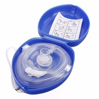 60Pcs/Lot Adult Child Resuscitator CPR Mask CPR Face Protect Mask With One way Valves For First Aid Training Blue Pouch Wraped