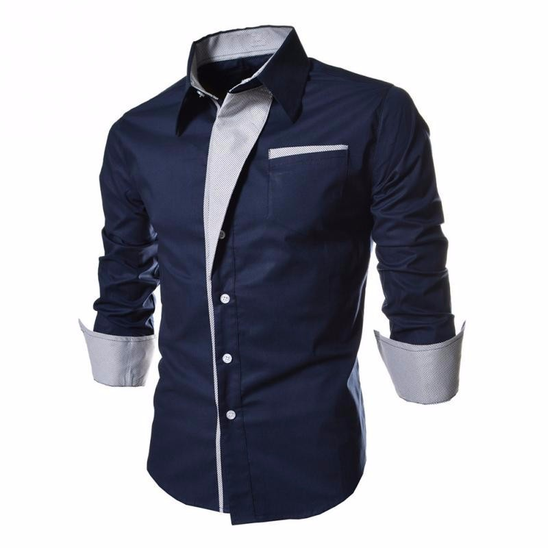 2017 Hot Sale Men Shirt Fashion Brand-Clothing Long Sleeve Casual Shirt Slim Fit Male Shirt Men Cotton Tuxedo Mens Dress Shirts