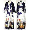 Promoção Azul Marinho Fêmea Chinês Cetim Sleepwear Clássico Vestido Kaftan Floral ocasional Robe Dropshipping S M L XL XXL XXXL NS0020