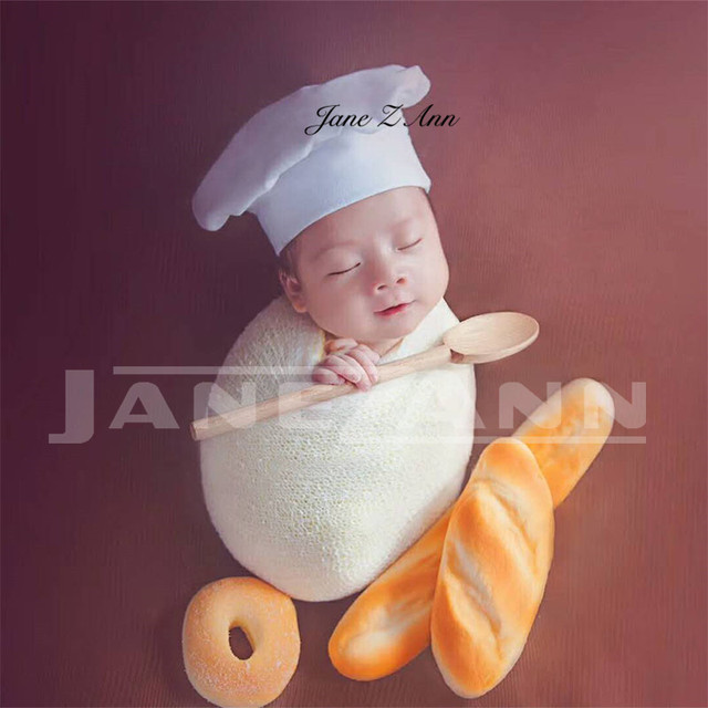 89b0b269e6d Jane Z Ann Baby Photography Props Little Chef Hat White Stretch Wrap Little  Cook creative props Newborn Photography Accessories