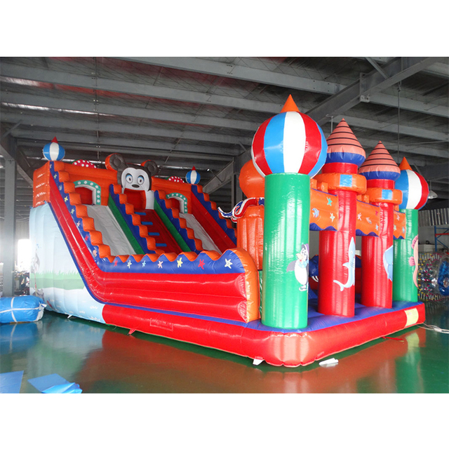 Factory price outdoor PVC Inflatable fun city jumping bounce inflatable slide with blower