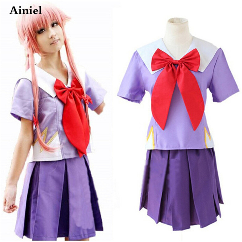 Anime Future Diary Role Gasai Yuno Violet UltraShort Cosplay Costume Purple Summer School Uniform for women/girl party Halloween